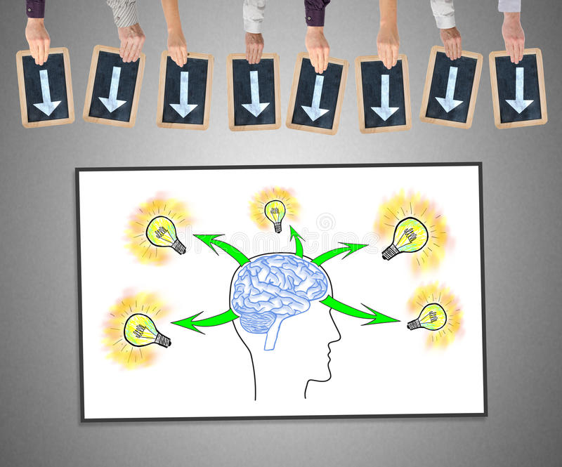 Human brain ideas concept on a whiteboard royalty free stock photography