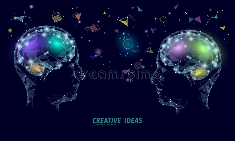 Human brain IQ smart business concept. E-learning nootropic drug supplement braingpower. Brainstorm creative idea vector illustration