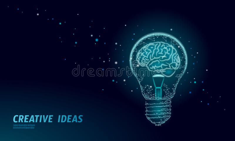 Human brain IQ smart business concept. E-learning nootropic drug supplement braingpower. Brainstorm creative idea. Project work low poly polygonal vector stock illustration