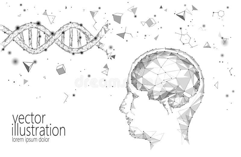 Human brain IQ smart business concept. E-learning nootropic drug supplement DNA medicine neuroscience braingpower. Brainstorm creative idea project work low stock illustration