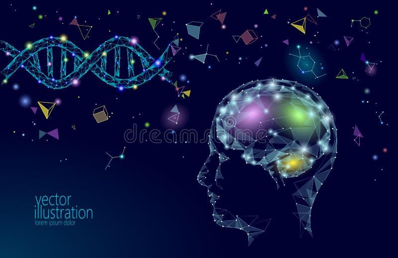 Human brain IQ smart business concept. E-learning nootropic drug supplement DNA medicine neuroscience braingpower. Brainstorm creative idea project work low royalty free illustration