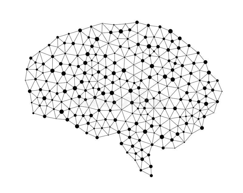 Human brain isolated on white background in the form. Of artificial intelligence for technology concept, 3d illustration vector illustration