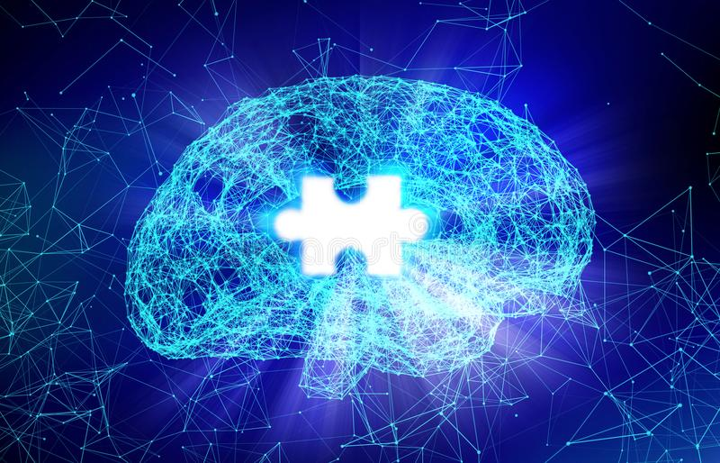 Human brain and jigsaw for Alzheimer`s disease in the form. Of artificial intelligence for technology concept, 3d illustration vector illustration