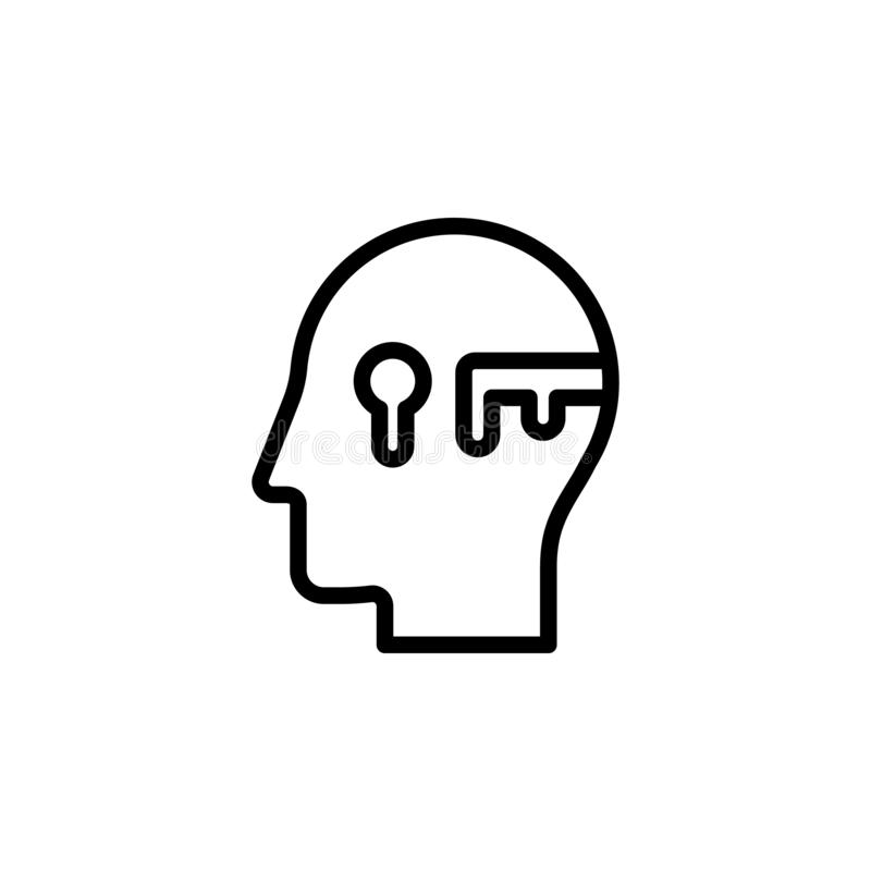 human, brain, key, success icon. Simple thin line, outline vector of Mind process icons for UI and UX, website or mobile royalty free illustration