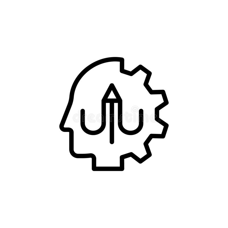 human, brain, learning, pen icon. Simple thin line, outline vector of Mind process icons for UI and UX, website or mobile stock illustration