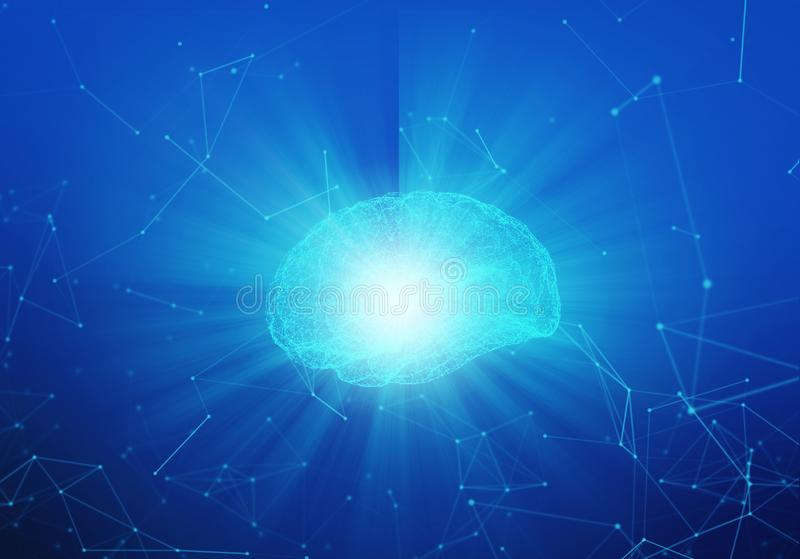 Human brain with light on blue background in the form stock illustration
