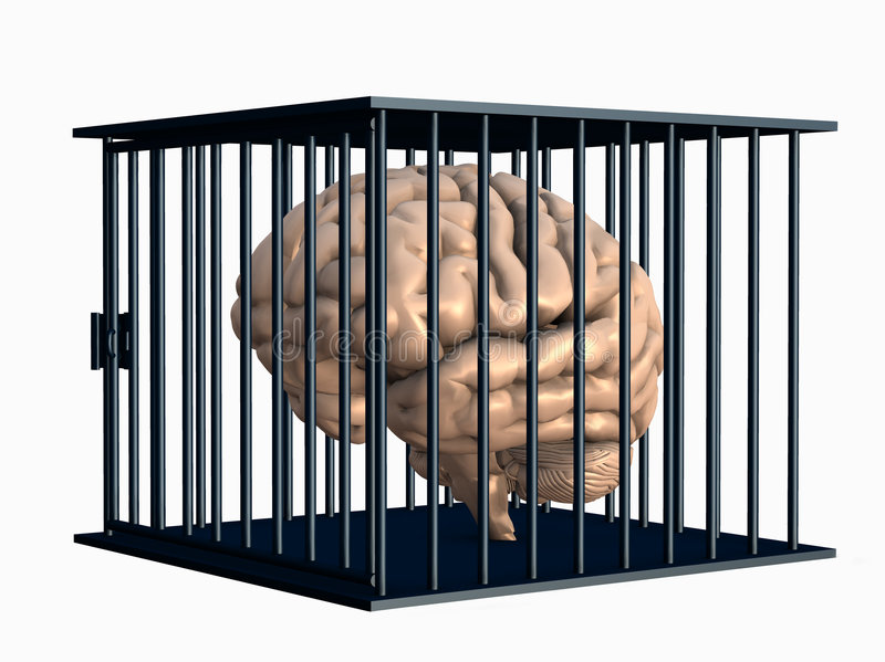 Human Brain Locked in Cage - with clipping path stock illustration