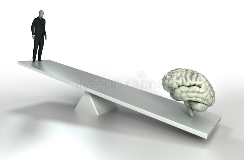 Human brain and man balance stock illustration
