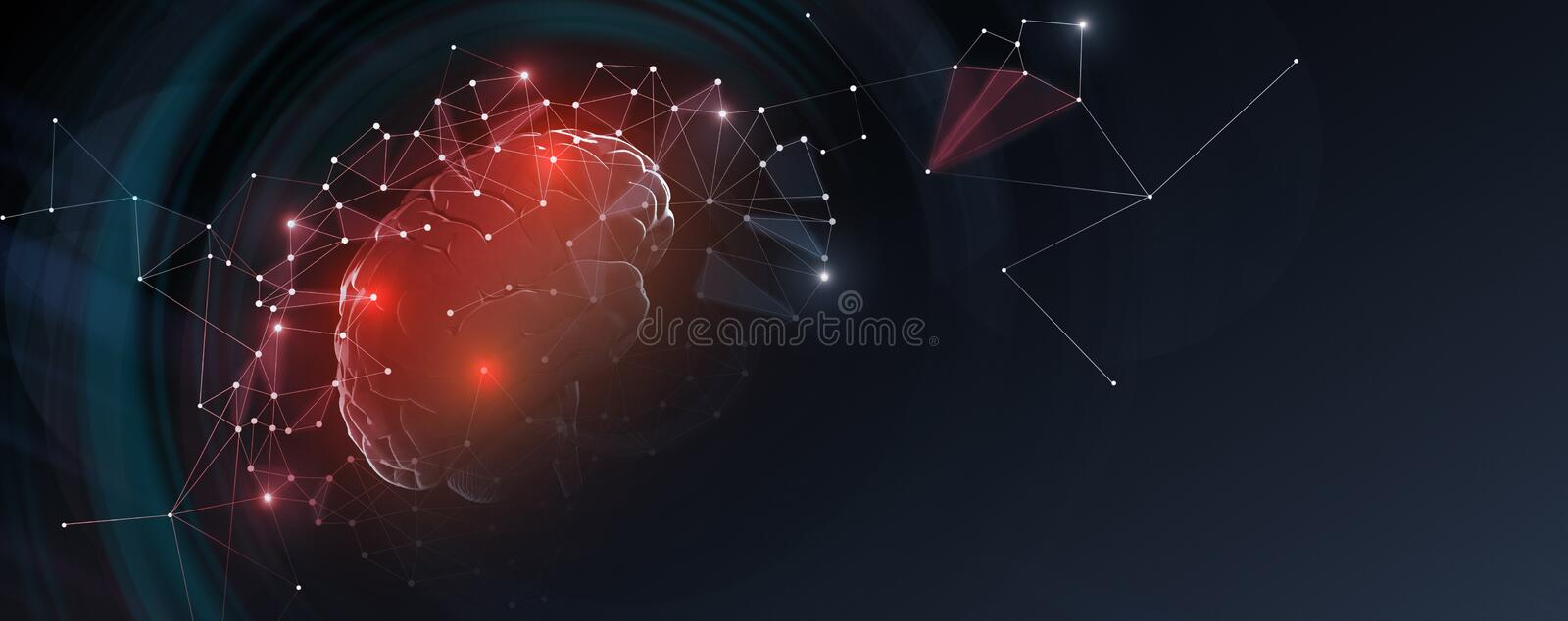 Human brain with network connections, free space. Human brain with network connections on dark background, panorama with empty space stock photography