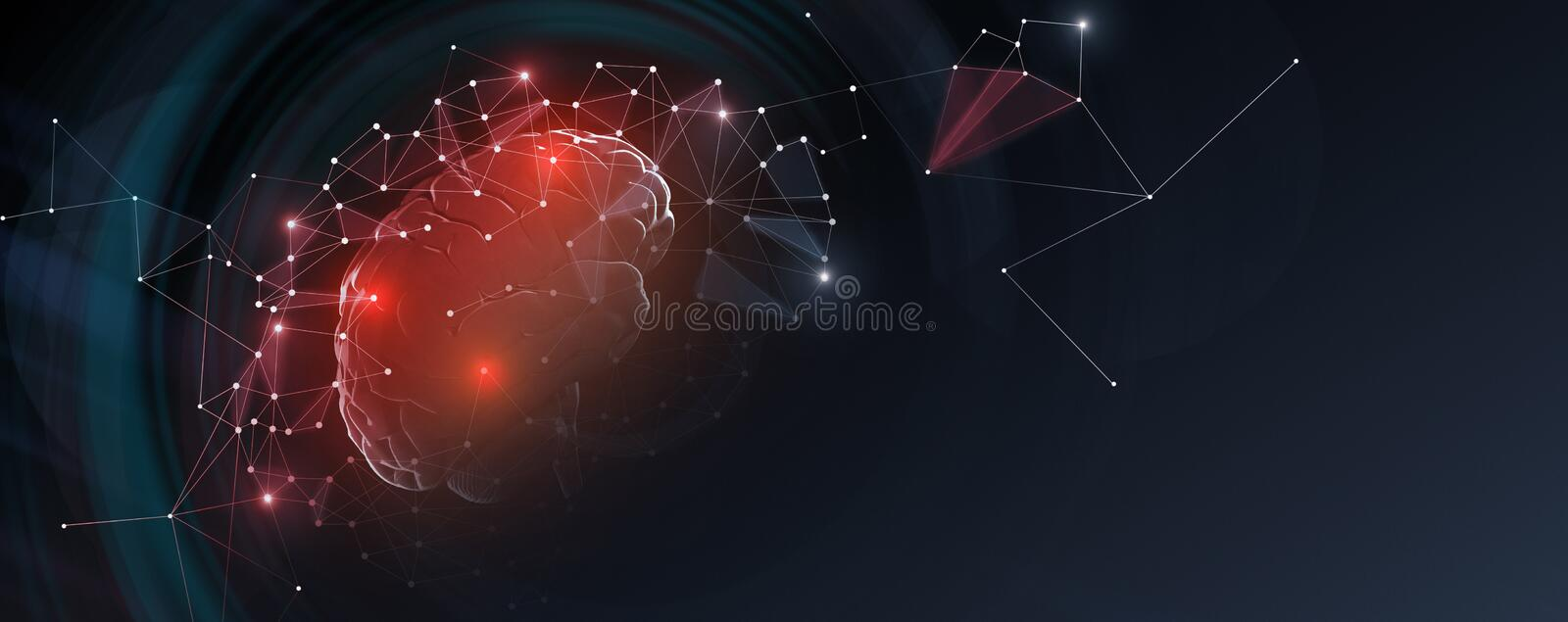 Human brain with network connections, free space. Human brain with network connections on dark background, panorama with empty space, illustration, 3D royalty free stock photography