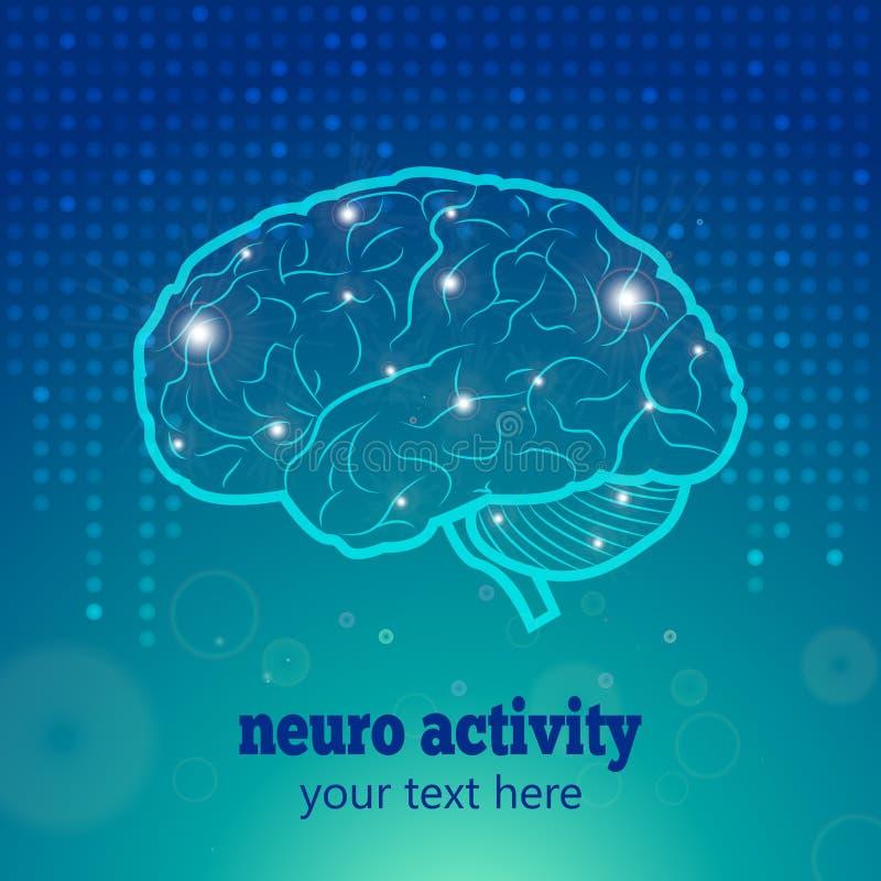 Human brain neural activity stock illustration