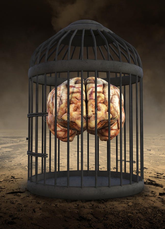 Human Brain, Potential, Ideas, Education. Abstract concept of a surreal human brain in a bird cage. Can be used for business, sales, marketing, goals, ideas stock image