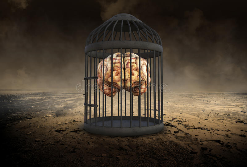 Human Brain, Potential, Ideas, Education. Abstract concept of a surreal human brain in a bird cage. Can be used for business, sales, marketing, goals, ideas royalty free stock images