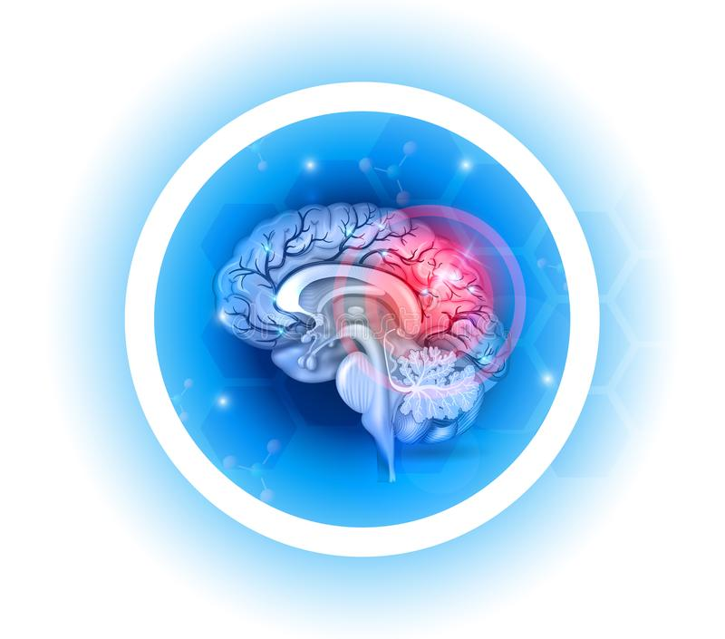 Human brain problems symbol. On a beautiful light blue radial background vector illustration