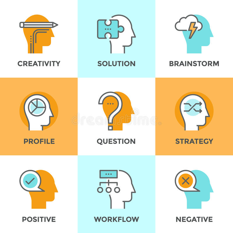 Human brain process line icons set stock illustration