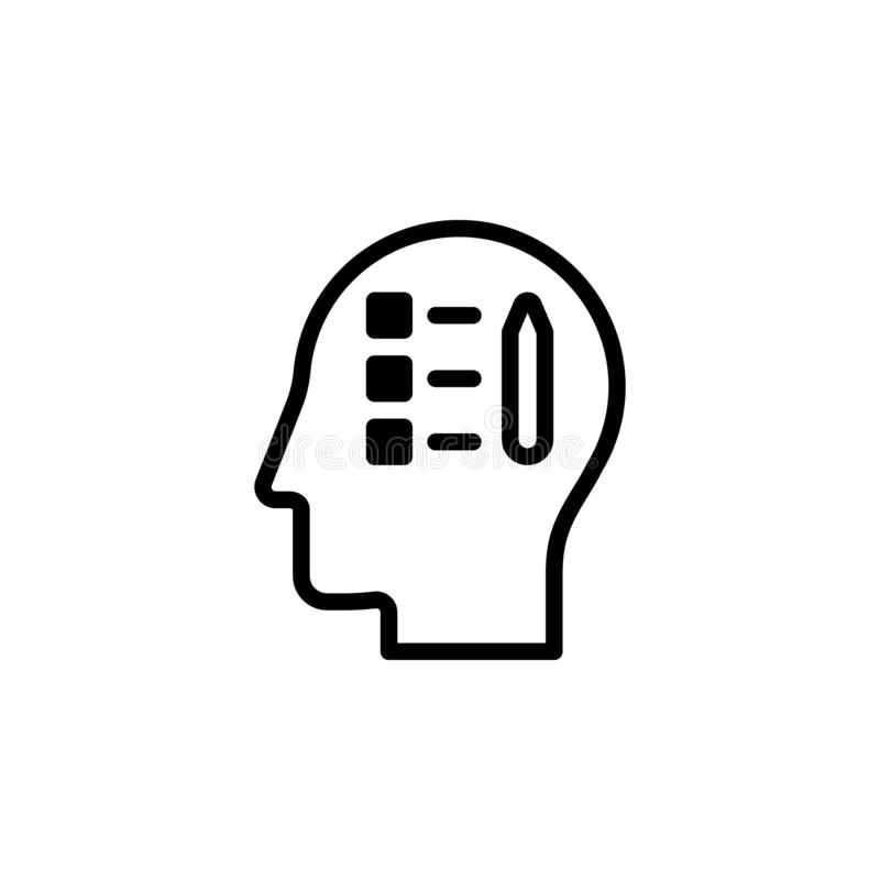 human, brain, productivity icon. Simple thin line, outline vector of Mind process icons for UI and UX, website or mobile royalty free illustration