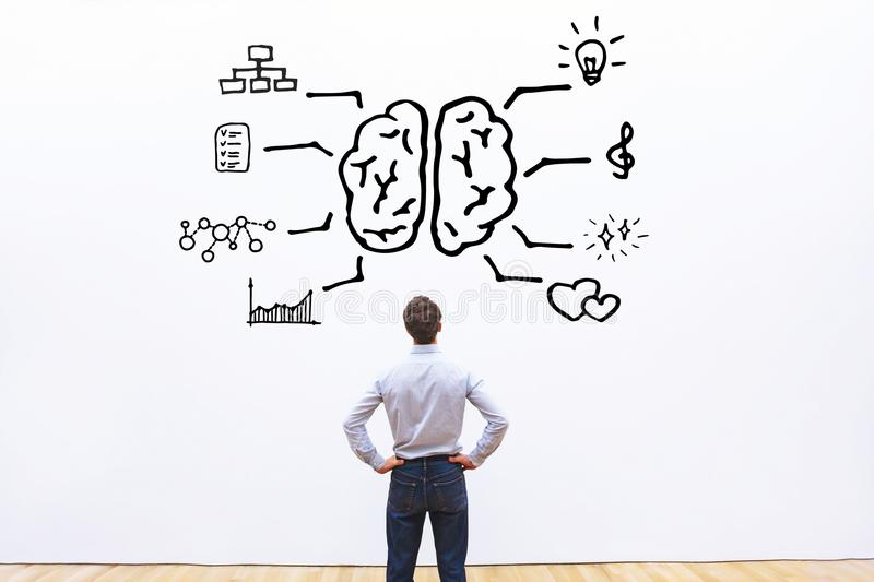 Human brain right left concept. Logic vs creativity royalty free stock photos