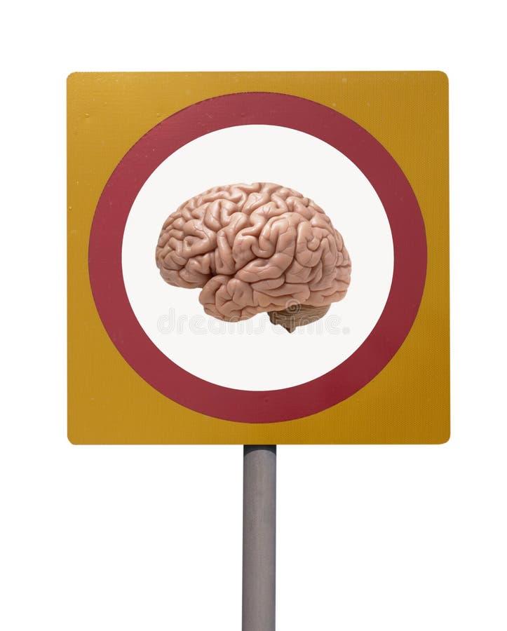 Human Brain On Road Sign Stock Photo