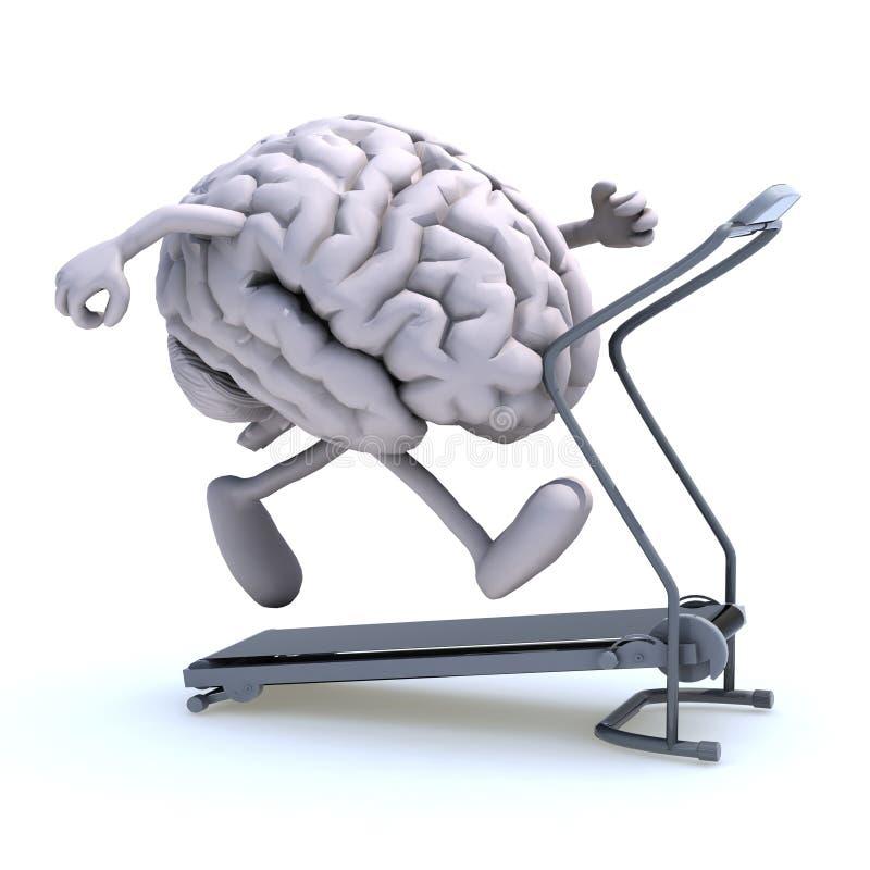 Human brain on a running machine stock illustration