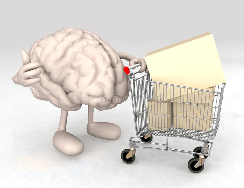 Human brain with a shopping cart royalty free illustration