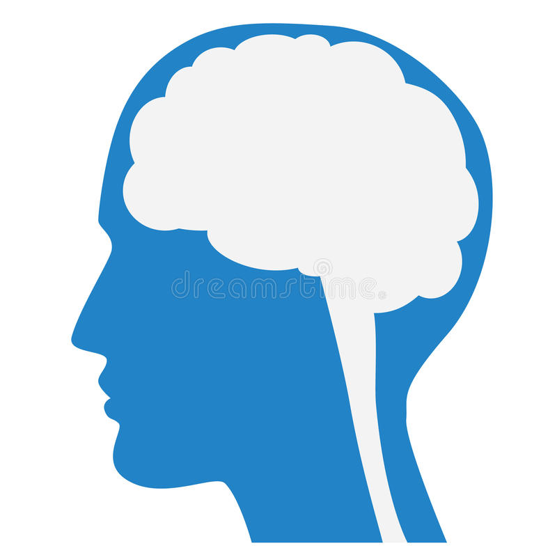 Human brain silhouette with blue face profile. vector illustration