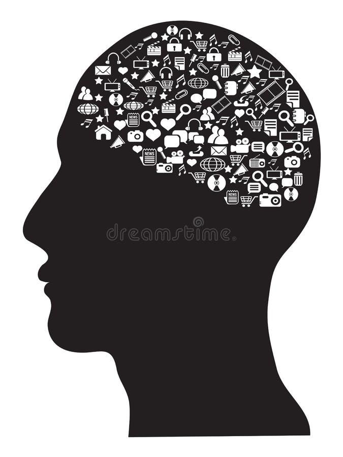 Human brain with social media icons set royalty free illustration
