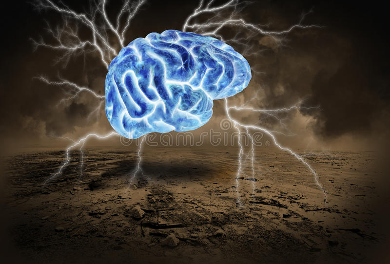 Human Brain, Storm, Brainstorm, Brainstorming. Abstract concept of a brain storm, brainstorm, or brainstorming. A blue electric human brain flies through a royalty free stock photo