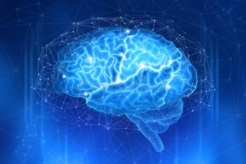 Human brain is surrounded by a network of polygons on a dark blue background. Conceptual digital illustration stock photo