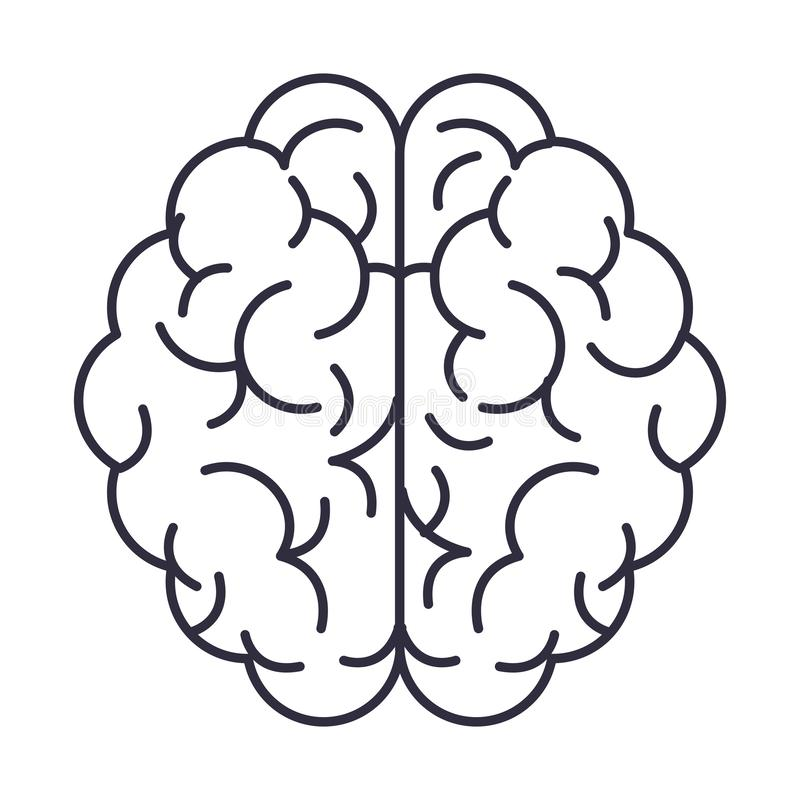 Human brain symbol. In black and white vector illustration graphic design stock illustration