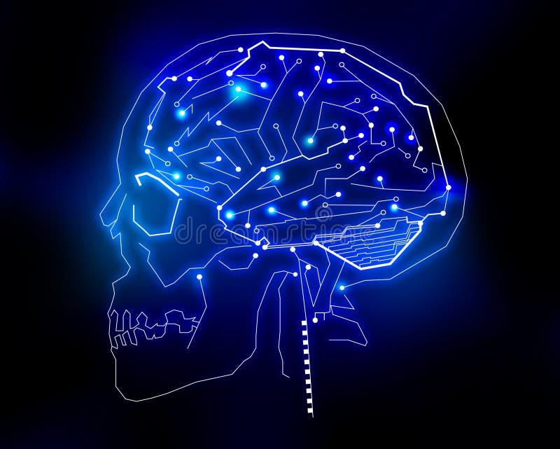 Human brain technology background. Circuit microchip, high technology human brain illustration or background royalty free illustration