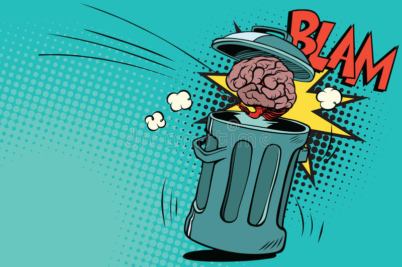 Human brain is thrown in the trash vector illustration