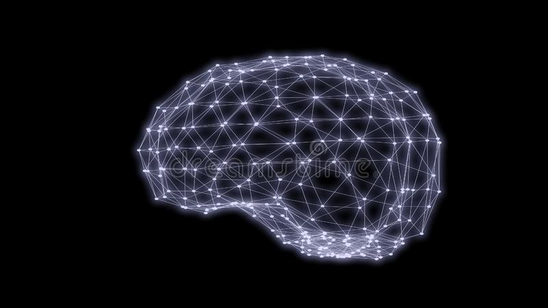 Human brain triangles grid scan 3D rendering royalty free stock image