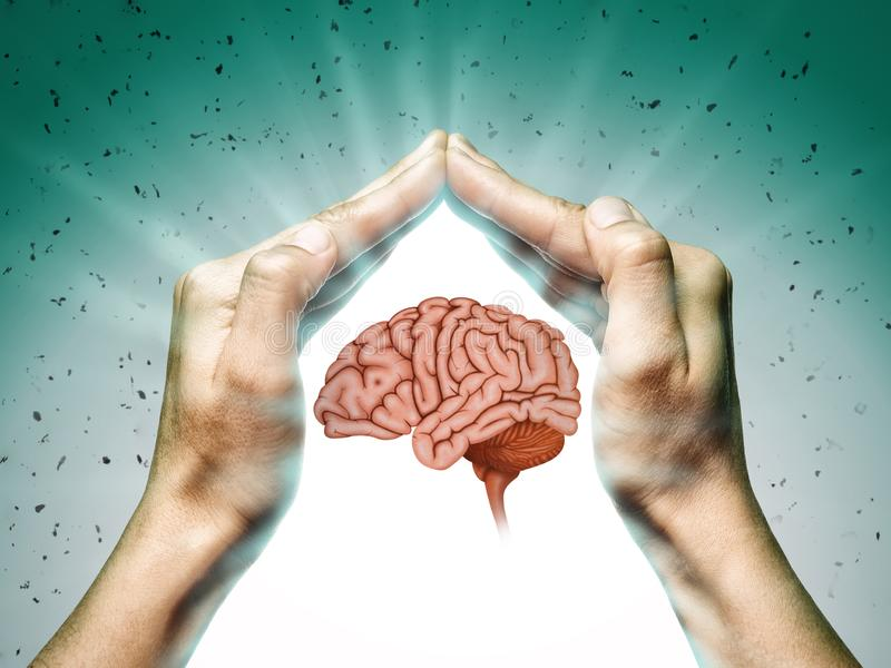 Brain protection and intellectual rights concept royalty free stock photo