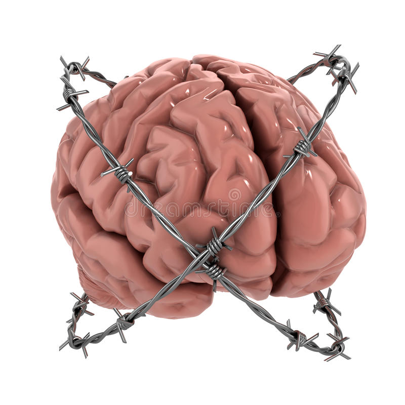 Human brain under barbwire. Free thought, censorship, freedom of speech 3d concept - human brain under barbwire over white background vector illustration