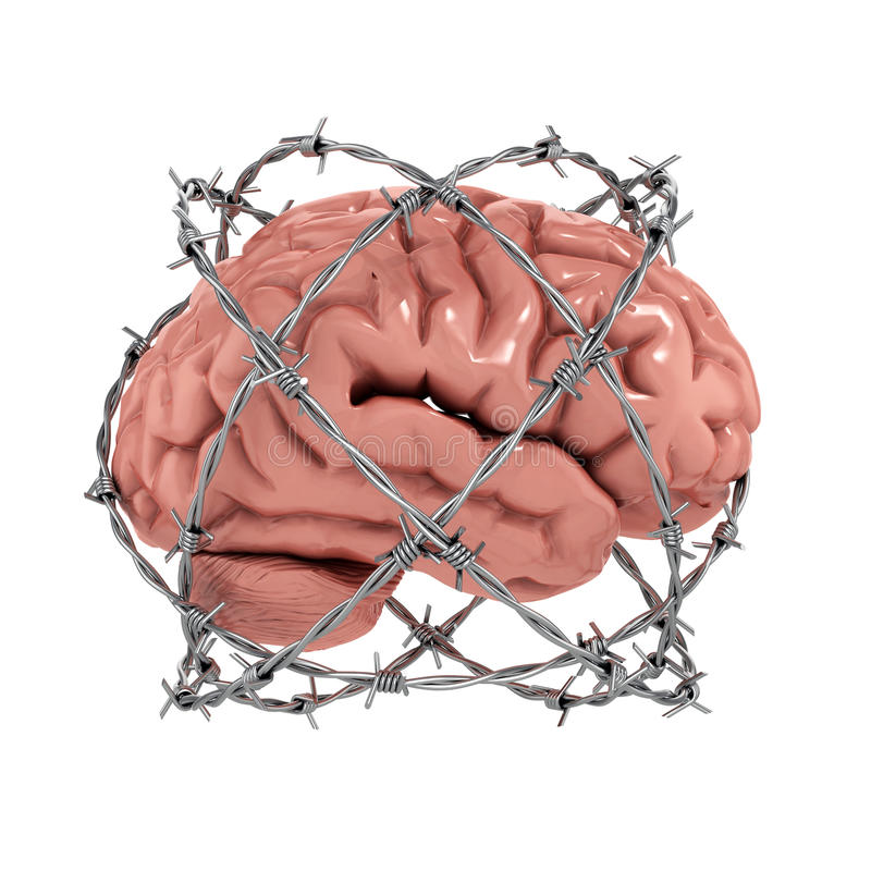 Human brain under barbwire royalty free illustration