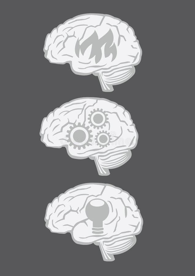 Human Brain Vector Icon Set royalty free illustration