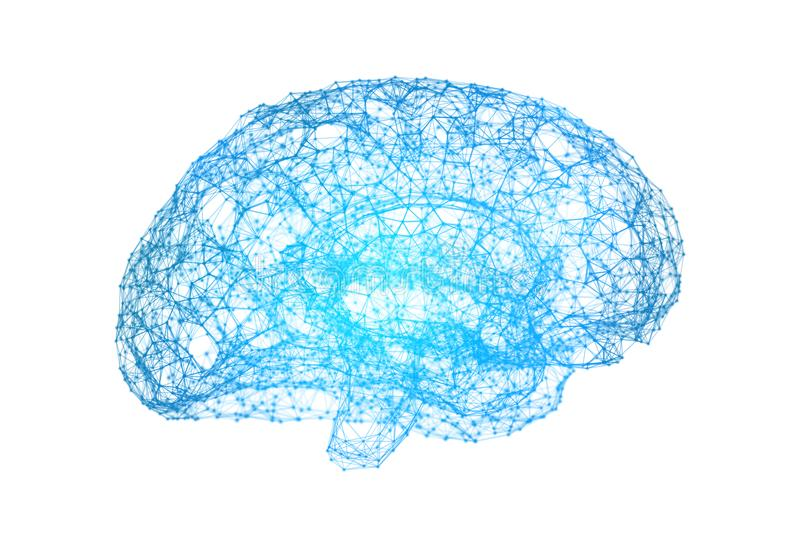 Human brain on white background in the form of artificial. Intelligence for technology concept, 3d illustration vector illustration