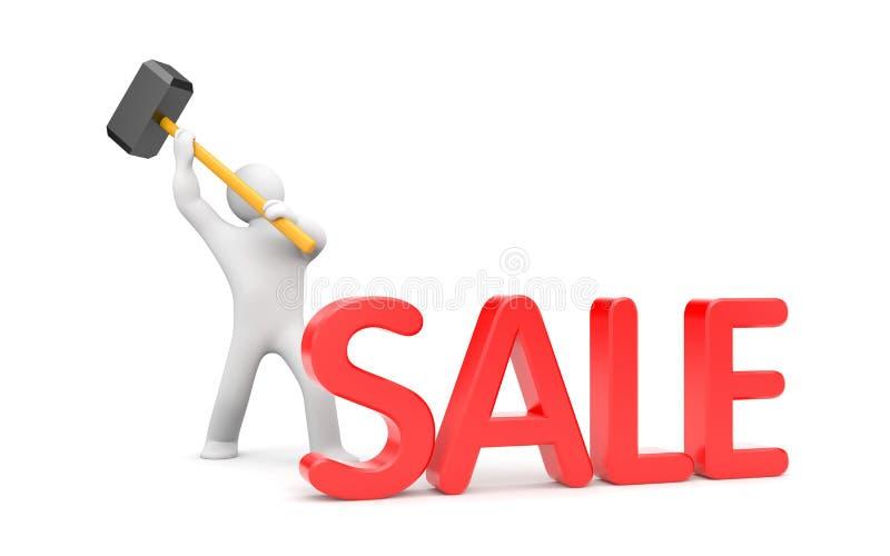 Human breaks word SALE. Save your money vector illustration