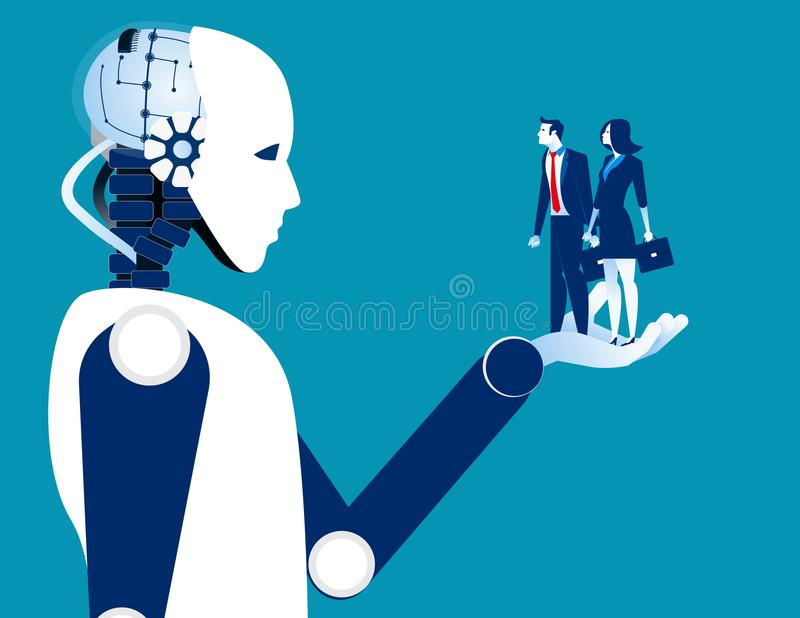 Human business in robotic hand. Concept robot and automation vector illustration. stock illustration
