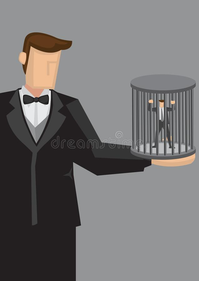 Human Cage Cartoon Vector Illustration. Cartoon giant man holds a human cage with a tiny businessman trapped inside. Vector illustration on concept of being held royalty free illustration