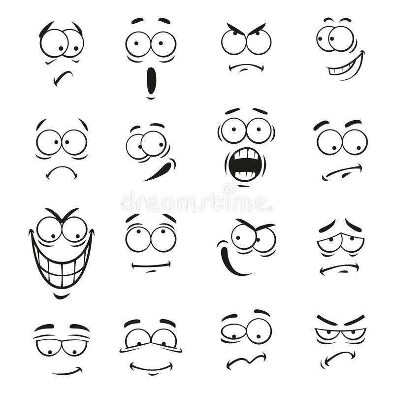 Human cartoon emoticon faces with expressions royalty free illustration