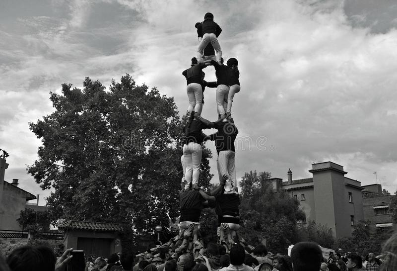 Human castle in a Traditional Festival in Catalonia stock image