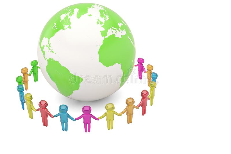 Human character holding hands around the globe world community c. Oncept high quality 3D illustration vector illustration