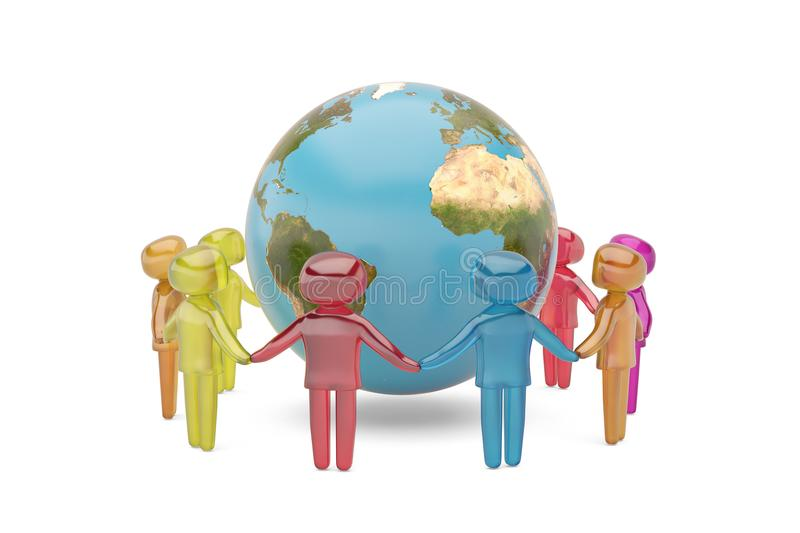 Human character holding hands around the globe world community c. Oncept high quality 3D illustration royalty free illustration