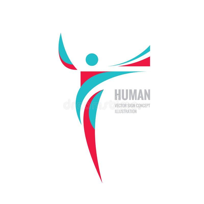 Human character - vector logo template concept illustration for sport club, fitness hall, health center, music festival etc. vector illustration