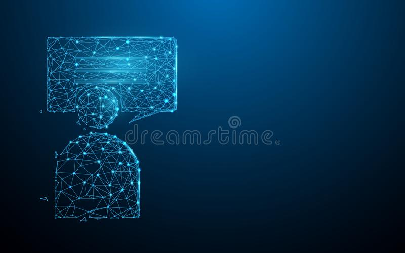 Human and chat Messages icon form lines, triangles and particle style design. Illustration vector royalty free illustration