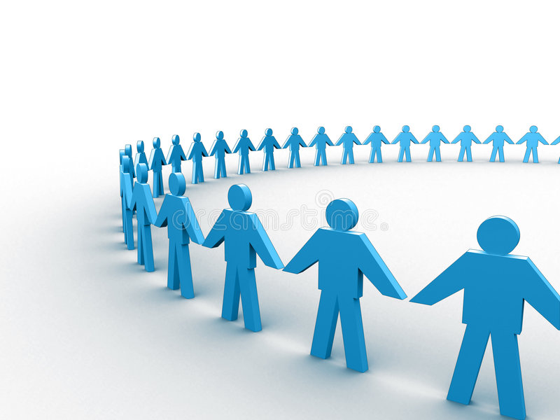 Human circle. 3d people holding hands in a big circle