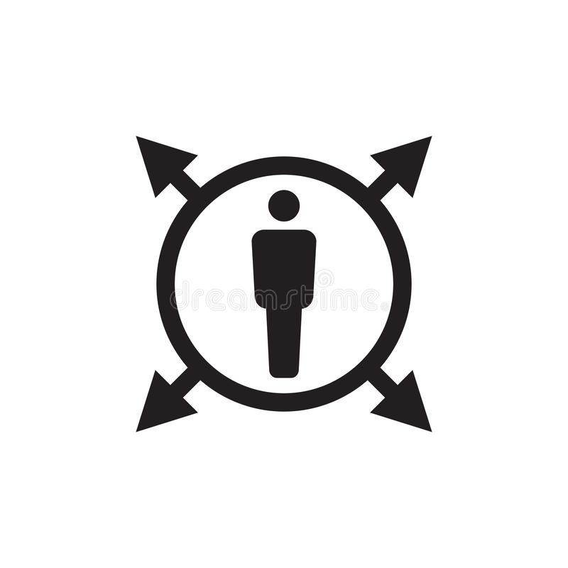 Human in circle with arrows - black icon on white background vector illustration for website, mobile application, presentation royalty free illustration
