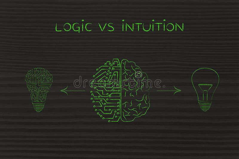 Human & circuit brain having different ideas, logic vs intuition stock illustration