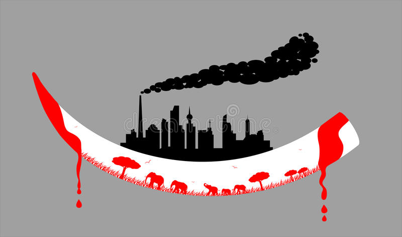 Human city sit on an ivory. Calling human civilization protecting wild animal vector illustration